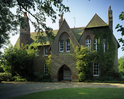 The north facing Entrance Front of Red House built by Philip Webb in 1859 for William Morris, the building is of red brick laid in 'English Bond' with a red tiled roof