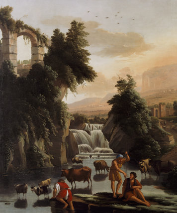 FIGURES, CATTLE & WATERFALL, early C18th English School, in the Cut Velvet Bedroom at Hardwick Hall