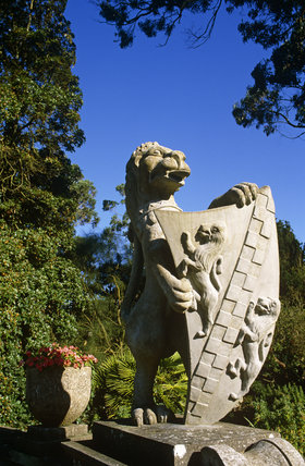 Close view of low relief sculpture of a lion holding a shield, in the garden created in 1921 at Mount Stewart