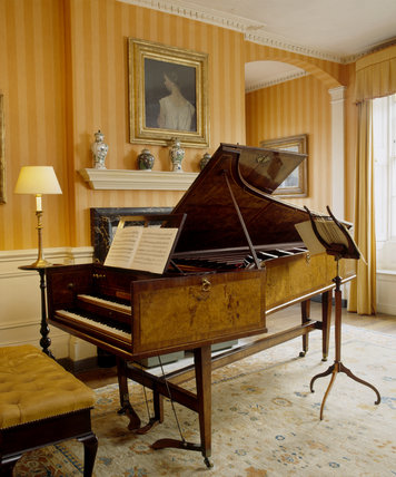 The Shudi and Broadwood harpsichord in the Dining Room at Fenton House