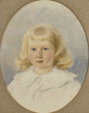A pastel portrait of Ponsonby Lewes (aged 3 boy with blond hair and a white smock), 1903 in a carved and gilded oval frame in the Drawing Room at Llanerchaeron