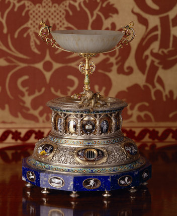The enamel & lapis-lazuli table clock commissioned by Anthony Gibbs in 1878 from Le Roy et fils