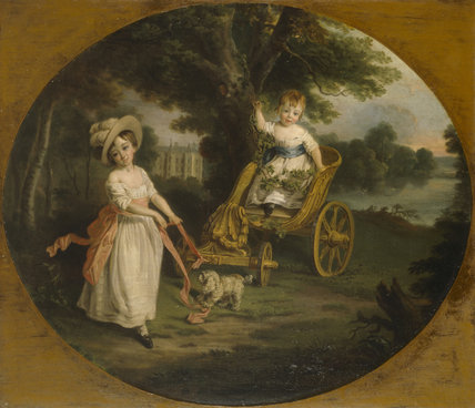 THE O'NEILL BOYS WITH THEIR CHARIOT AT SHANE'S CASTLE attributed to Francis Wheatley c.1782/3, at Stourhead.