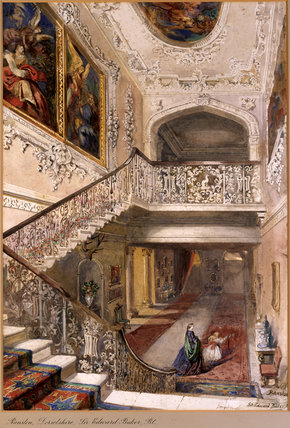 THE STAIRCASE,RANSTON,DORSETSHIRE by Rebecca Dulcibella Orpen (1830-1923), one of a series of country house watercolours exhibited at Baddesley Clinton