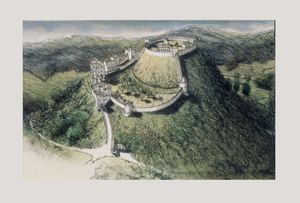 An ink and pastel illustration of Dunster Castle with castle, keep, and some internal buildings, by Stephen Biesty