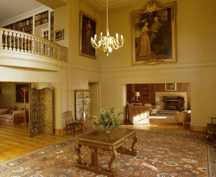 The Picture Room at Upton House including Library balcony, the Inglenook, and part of the Billiard Room