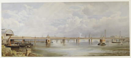 THAMES SCENE WITH HUNGERFORD BRIDGE & CITY LANDMARKS on staircase at Clevedon Court