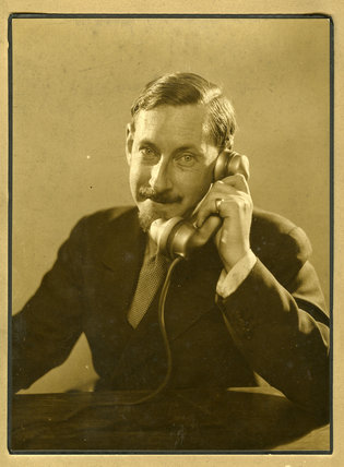 Edward Chambré Hardman with telephone