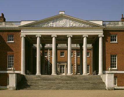 The 'transparent' portico on the East Front of Osterley Park, with its impressive pillars and ionic capitals