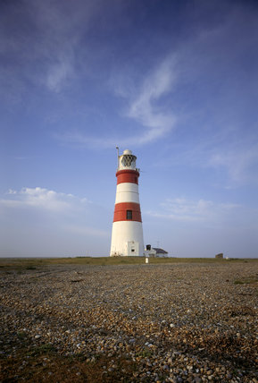 Shingle leads up the Lighthouse at Orford Ness