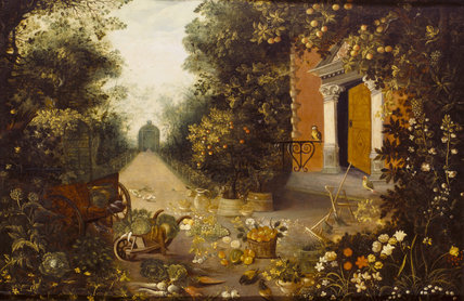 GARDEN SCENE in the manner of Jan Breughel at Wimpole Hall