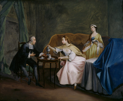 A painting of a scene on glass, in Fenton House