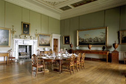 The Dining Room at Berrington Hall is the largest room in the house with a very high ceiling