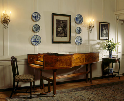 The double-manual harpsichord in the Blue Porcelain Room at Fenton House