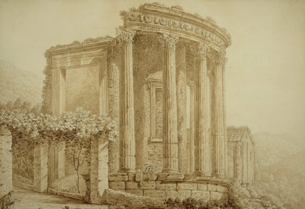 VIEW OF TIVOLI, TEMPLE OF SISYLON VESTER, by G. Del Drago, post-conservation, in the Library at Florence Court. Formerly at Townley Hall, presented to the National Trust, 1987.