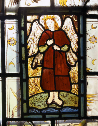 William Morris stained glass panel representing 'Love', in the Ground Floor passage at Red House