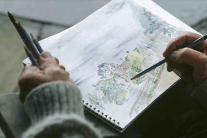 Close-up of a watercolour being executed at the Adult Learners Day at Chartwell