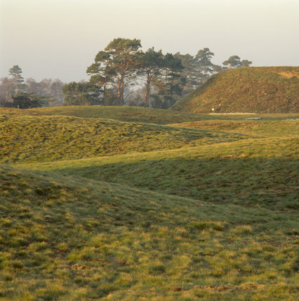 View looking across the burial mounds at Sutton Hoo