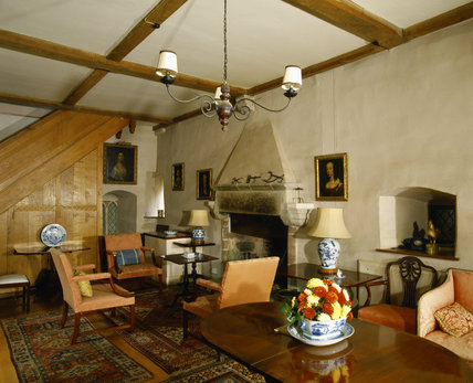 View towards stone fireplace in the solar or withdrawing room