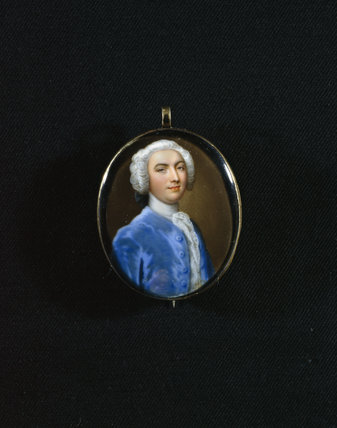A miniature portrait of Sir Cordell Firebrace 1711-1759, 3rd Baronet of Melford Hall