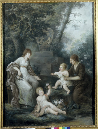FLORA, wife of James Legge Willis, with nurse and two babies, pastel by John Russell (1745-1806) on the Stairs & Landing at Clevedon Court