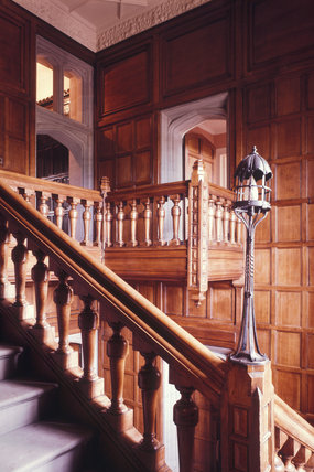 Barry's Staircase at Gawthorpe Hall with oak panelling all round