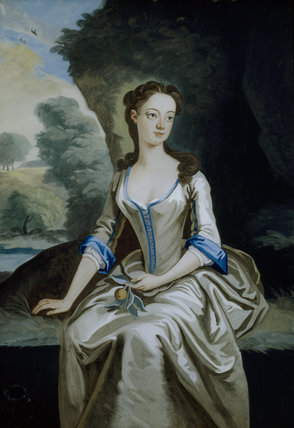 An eighteenth century picture of a lady, painted on glass, hanging in the Drawing Room at Fenton House