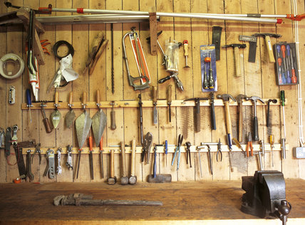 An orderly array of tools in the Gardener's Tool Shed, at Hinton Ampner