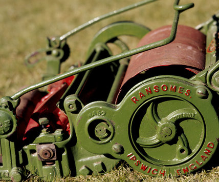 Detail of Ransomes Lawn Mower from the  Lawn Mower Collection at Trerice