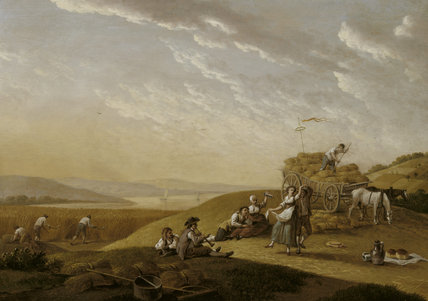 19TH CENTURY HARVEST SCENE, by John N Sartorius (c1755-1828) in the South East Attic Room at Fenton House