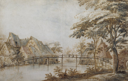RIVER LANDSCAPE WITH BRIDGE AND COTTAGES, by Jan Bruegel the elder (1568-1625) in the Drawing Room at Fenton House