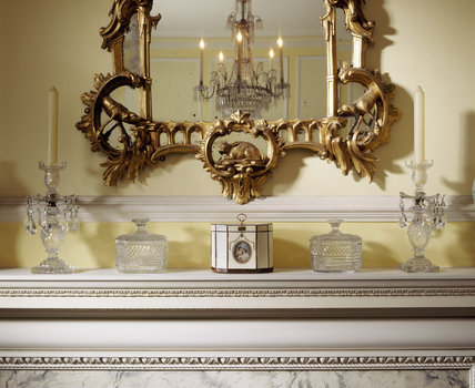 The mirror and mantlepiece in the Drawing Room at Fenton House