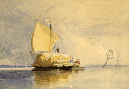 A HAY BARGE ON THE YARE by John Sell Cotman, a pencil and watercolour, from the Miss Bailey's Watercolour Bequest at Peckover House