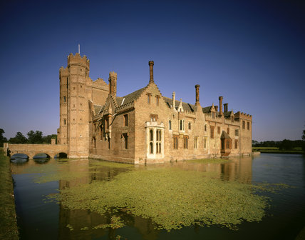 The north west corner of Oxburgh Hall seen from across the moat