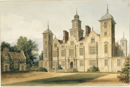 THE SOUTH FRONT OF BLICKLING HALL, a watercolour view by John Chessell Buckler (1793-1894), dated 1820, which hangs in the corridor at Blickling