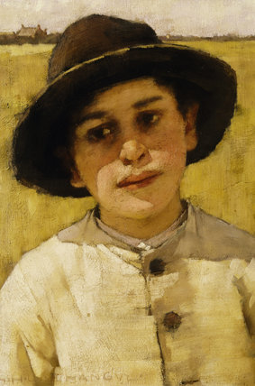 PORTRAIT OF A BOY by Henry Herbert La Thangue (1889-1929) from the Dining Room at Standen