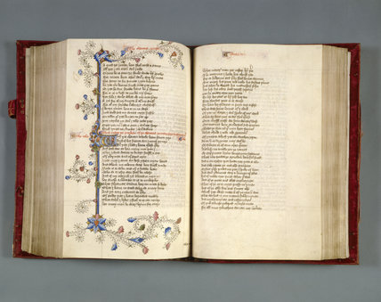 A page from an early, 15th century version of Chaucer's CANTERBURY TALES at Petworth House