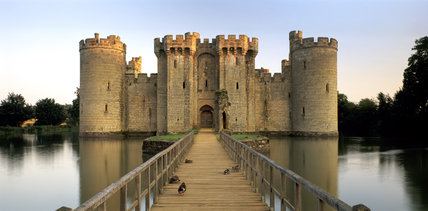 View across the moat to Bodiam Castle, East Sussex, built 1385