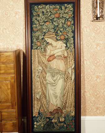 St Agnes Tapestry, based on a design produced by Burne-Jones for stained glass; the foliage background was added by Morris