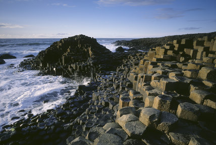Giant's Causeway surrounded by surf