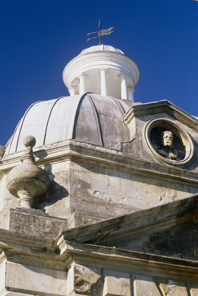 Architectural detail of the roof of a Boycott Pavilion at Stowe Landscape Gardens