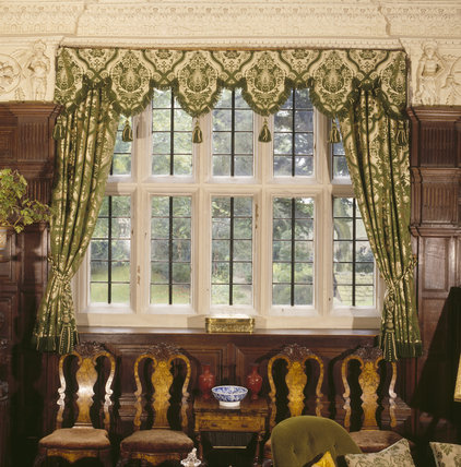 Gawthorpe Hall, view to the window in the Dining Room showing wool & silk brocade curtains by Pugin and Crace, 1844