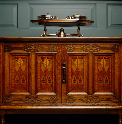 Sideboard by LLewellyn Rathbone with marquetry panels and silvered copper hot-plate