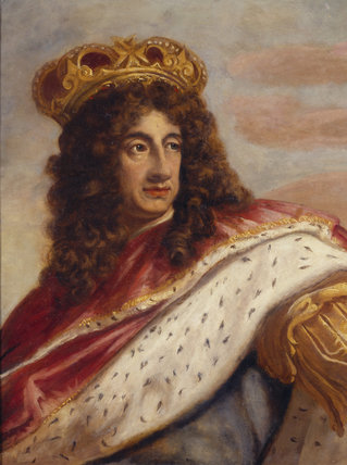 PORTRAIT OF CHARLES II, oil on plaster, attributed to Antonio Verrio (1639-1707) in the Staircase at Packwood House