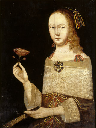 WOMAN HOLDING A CARNATION, 17th century painting in the Inner Hall at Packwood House