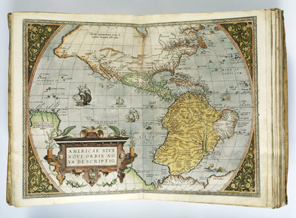 A double page spread of Orbis Terrarum (Atlas) map by Ortelius at Charlecote Park