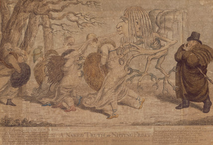 A NAKED TRUTH or NIPPING FROST by Cruikshank, 1803