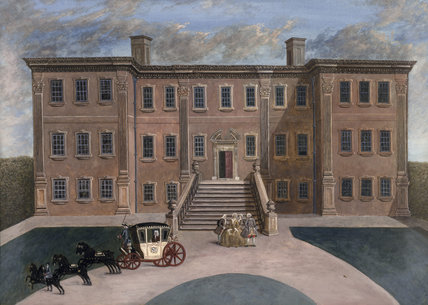 CALKE ABBEY, by the Rev. H. Palmer, gouache, dated 1823