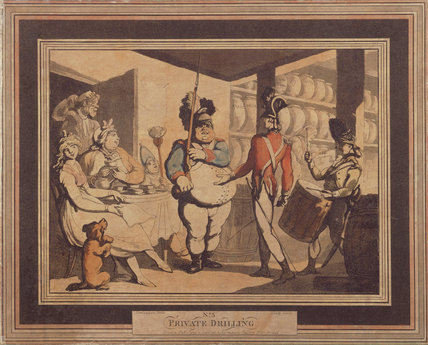 PRIVATE DRILLING NO. 5 by Rowlandson, 1798