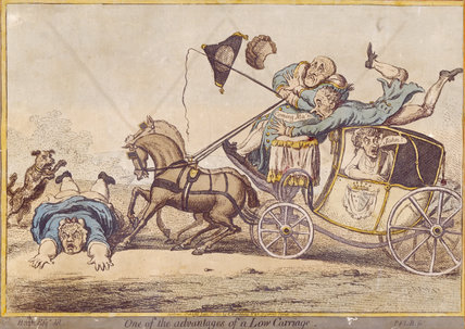 ONE OF THE ADVANTAGES OF A LOW CARRIAGE, by Gillray, 1801